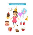 happy birthday party kids set vector image