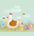 happy easter card with chicken family vector image vector image