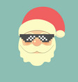 hipster santa claus with cool beard and pixel vector image vector image