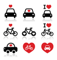 I love cars and bikes icons set vector image