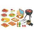 isometric barbecue food bbq grill meat