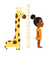 kid measures the growth kid measures the growth vector image vector image