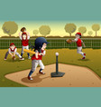 kids playing tee ball vector image vector image