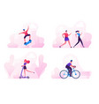 male and female characters sports activity vector image vector image