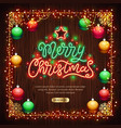merry christmas neon sign with colorful lights vector image vector image