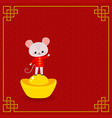 mouse and chinese gold ingot on red background vector image vector image