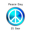 peace day logo on blue button vector image