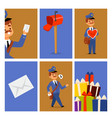 postman delivery man character cards vector image vector image