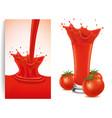 red fresh tomato splash vector image vector image