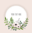 round floral label frame arranged from leaves and vector image vector image