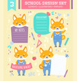 school design set with cartoon character vector image vector image