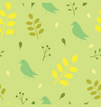 seamless pattern with birds and leaves vector image