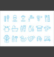 set of linear icons related to bathroom and vector image vector image