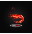 shrimp seafood poly design background vector image vector image