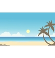Silhouette of palm on the beach scenery vector image vector image
