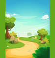 spring landscape background with path vector image