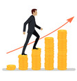 successful businessman walking up charts coins vector image