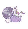 unicorn on clouds cute cartoons vector image
