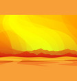 western desert with mountains in hot sunset vector image vector image