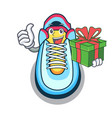with gift cartoon sneaker with rubber toe vector image