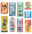 retro travel luggage labels and baggage tickets