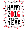 Happy 2016 new year card with garland vector image