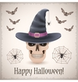 Happy Halloween card with a skull in witch hat vector image