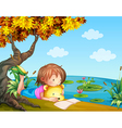 A girl reading beside the river vector image vector image