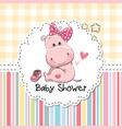 baby shower greeting card with hippo vector image vector image
