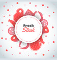 background with meat products flat meat farm vector image