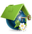 blue globe under green roof and flower vector image vector image