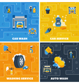 Car Wash 4 Flat Icons Square vector image vector image