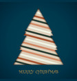 card of christmas tree colorful retro stripe vector image vector image