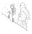 cartoon drawing of mountaineer or alpinist vector image vector image
