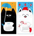 cat calendar 2017 cute funny cartoon character vector image vector image