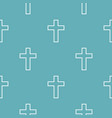 catholic cross pattern seamless blue vector image vector image
