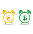 clock with euro and dollar vector image vector image