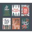 collection six christmas greeting cards vector image