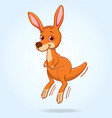 cute kangaroo joey cartoon character vector image vector image
