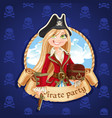 cute pirate girl with treasure chest banner vector image vector image