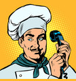 food delivery chef takes orders phone vector image vector image