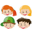 four happy faces of children vector image vector image