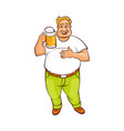 funny smiling fat man holding big mug of beer vector image