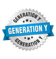 generation y round isolated silver badge vector image vector image