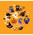 Halloween poster design set in the circle vector image vector image