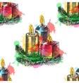 Hand drawn sketch Burning candle in christmas vector image vector image