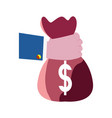 hand holding money bag vector image vector image
