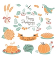 happy thanksgiving set elements for design vector image vector image