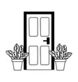 home door and potted plants isolated design white vector image vector image