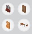 isometric furnishing set of cupboard drawer vector image